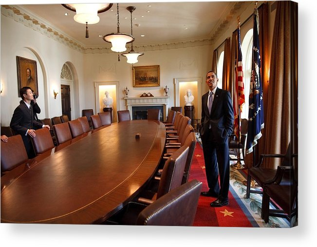 History Acrylic Print featuring the photograph President Obama Surveys The Cabinet by Everett