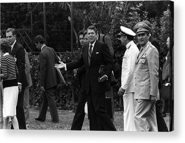 History Acrylic Print featuring the photograph President Reagan Gestures To Members by Everett