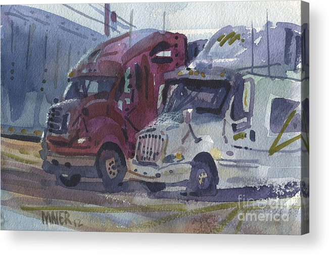Trucks Acrylic Print featuring the painting Red And White Trucks by Donald Maier
