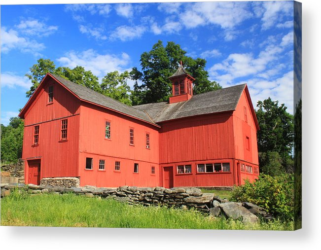 Cummington Acrylic Print featuring the photograph Red Barn At Bryant Homestead by John Burk