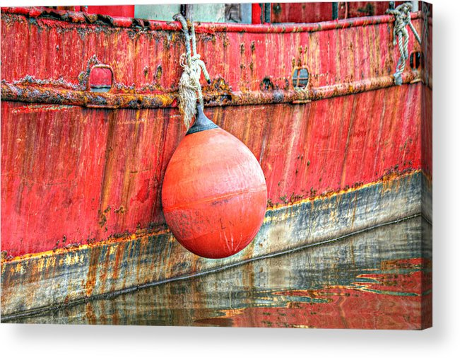 Red Acrylic Print featuring the photograph Red Boat With Bumper by Lynn Jordan