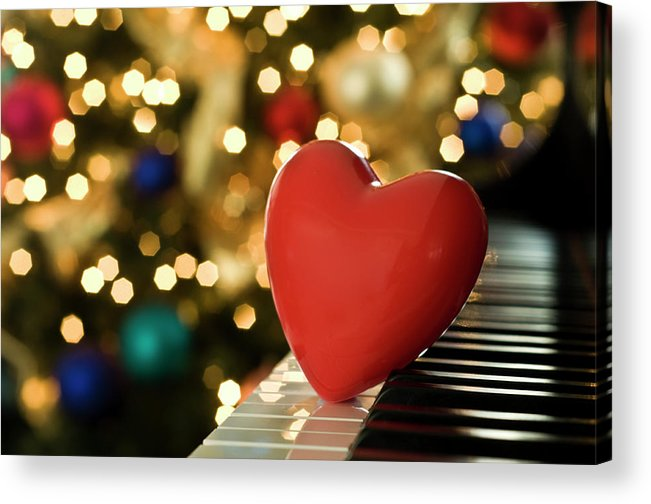 Horizontal Acrylic Print featuring the photograph Red Heart On Piano, Sandusky by Ray Sandusky / Brentwood, TN