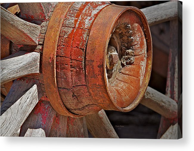 Wheel Acrylic Print featuring the photograph Red Wagon Wheel Hub by Phyllis Denton