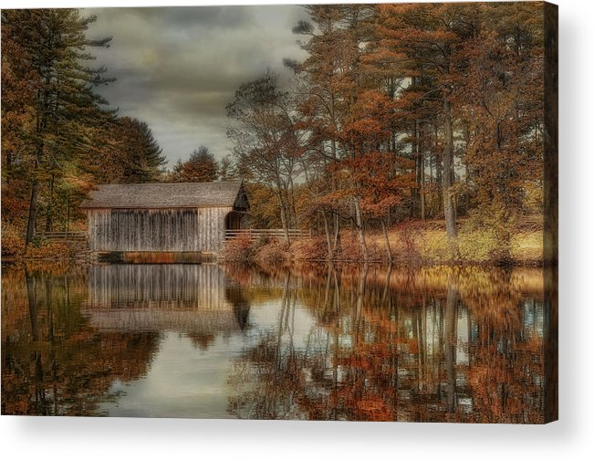 Covered Bridge Acrylic Print featuring the photograph Reflections Of Autumn by Robin-Lee Vieira