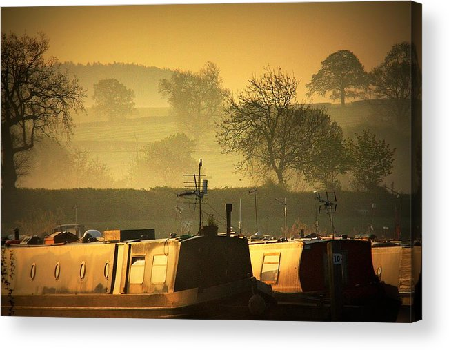 Inland Waterways Acrylic Print featuring the photograph Resting Narrowboats by Linsey Williams