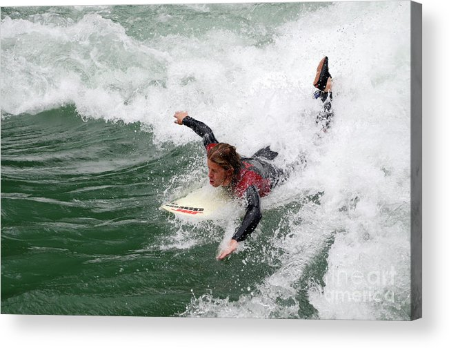 River Acrylic Print featuring the photograph River Surfing by Bob Christopher