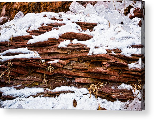 Rock Acrylic Print featuring the photograph Rock Sandwich With Snow Icing by Christopher Holmes