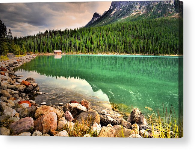 Lake Louise Acrylic Print featuring the photograph Rocks And Reflections by Tara Turner