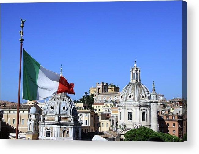 Horizontal Acrylic Print featuring the photograph Rome Skyline With Italian Flag by Fafali.org