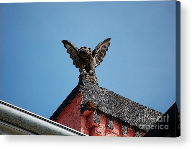 New Orleans Acrylic Print featuring the digital art Rooftop Gargoyle Statue Above French Quarter New Orleans Poster Edges Digital Art by Shawn O'Brien