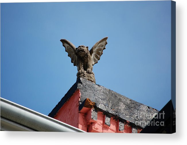 New Orleans Acrylic Print featuring the photograph Rooftop Gargoyle Statue Above French Quarter New Orleans by Shawn O'Brien