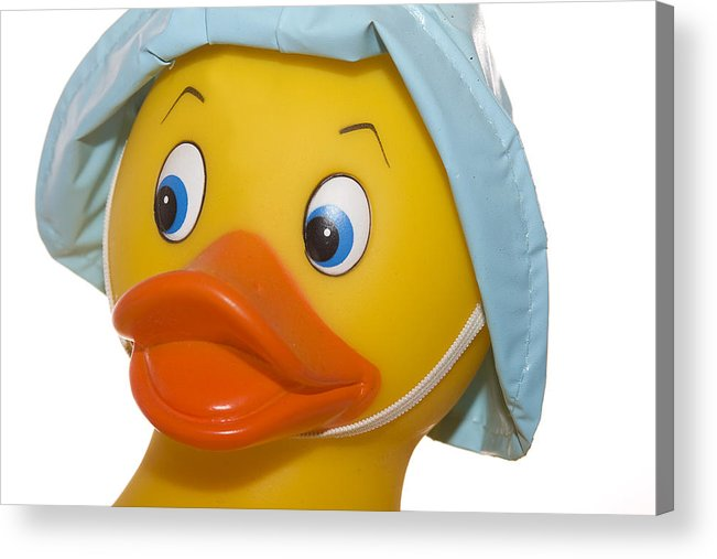 Rubber Acrylic Print featuring the photograph Rubber Ducky Closeup by Trudy Wilkerson