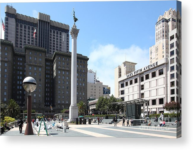 San Francisco Acrylic Print featuring the photograph San Francisco - Union Square - 5d17933 by Wingsdomain Art and Photography