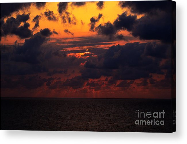 Sunset Acrylic Print featuring the photograph Setting Sun At South Beach by Pravine Chester