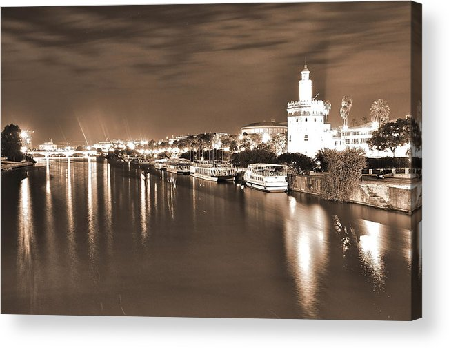 Landscapes Acrylic Print featuring the photograph Sevilha By The River by Nuno Lorador Pires