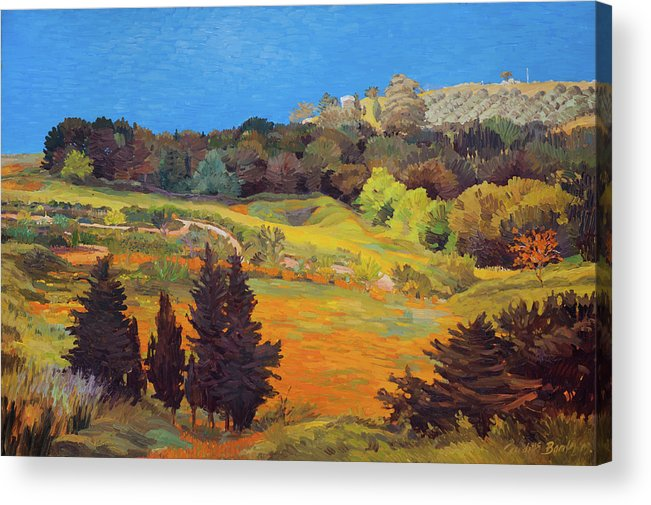 Landscape Acrylic Print featuring the painting Sicily Landscape by Judith Barath