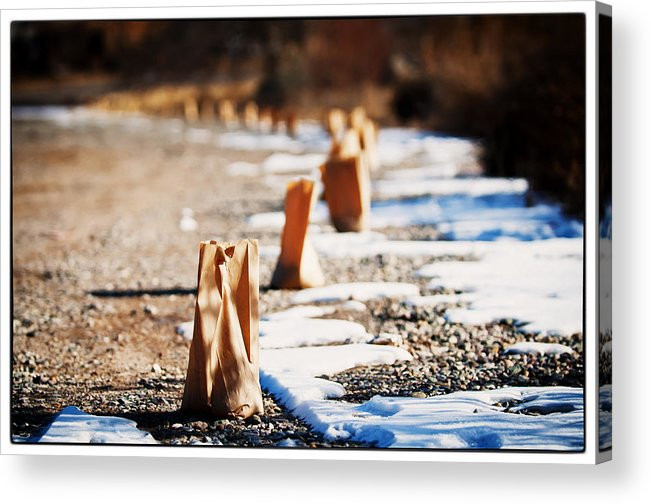 Taos Acrylic Print featuring the photograph Side Road Luminaries by Lisa Spencer