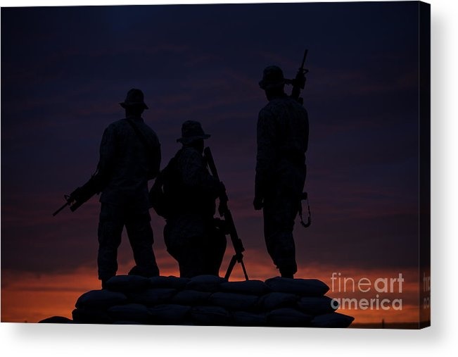 Marine Acrylic Print featuring the photograph Silhouette Of U.s Marines On A Bunker by Terry Moore