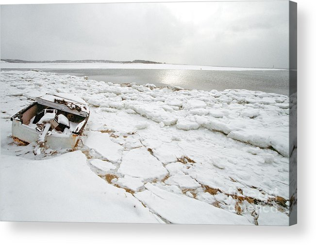 Small Boat Acrylic Print featuring the photograph Small Boat Sits On Ice Chuncks In Wellfleet On Cape Cod In Winte by Matt Suess