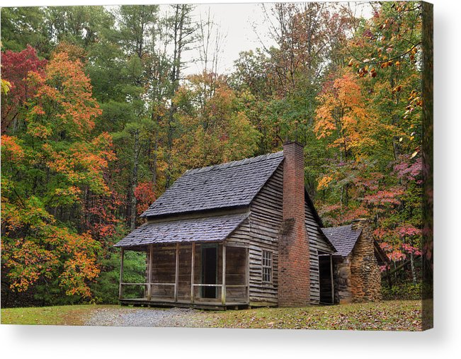 Smoky Mountains Acrylic Print featuring the photograph Smoky Mountains Log Capbin by Charles Warren
