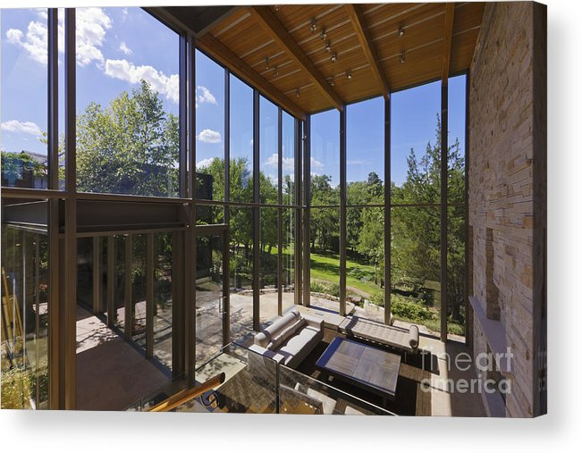 Architectural Detail Acrylic Print featuring the photograph Spacious Living Room With A View by Jeremy Woodhouse