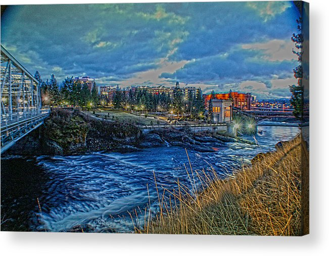 Acrylic Print featuring the photograph Spokane Falls From Howard St Bridge by Dan Quam