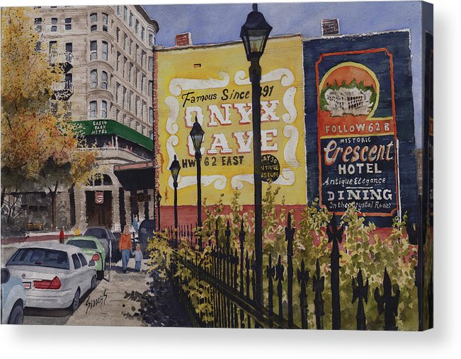 Spring Street Acrylic Print featuring the painting Spring Street At Basin Park by Sam Sidders