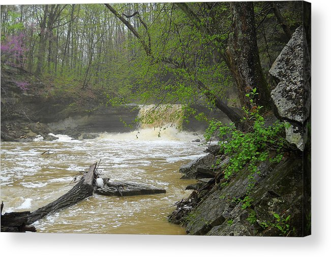 Springtime Falls Acrylic Print featuring the photograph Springtime Waterfall by Don Lorenzen
