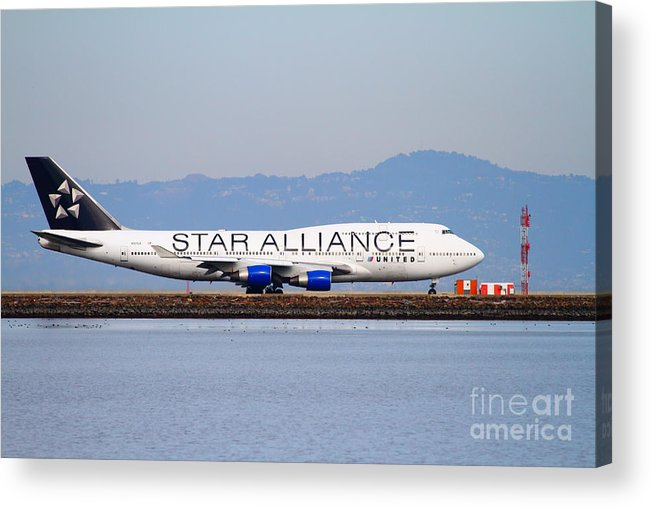 Airplane Acrylic Print featuring the photograph Star Alliance Airlines Jet Airplane At San Francisco International Airport Sfo . 7d12199 by Wingsdomain Art and Photography