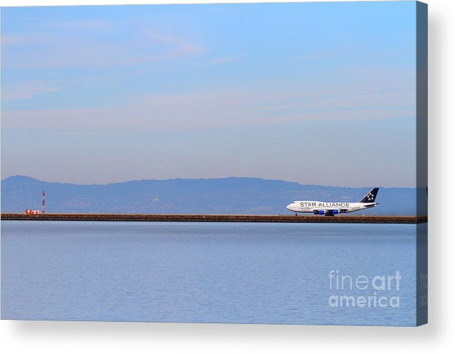 Airplane Acrylic Print featuring the photograph Star Alliance Airlines Jet Airplane At San Francisco International Airport Sfo . 7d12208 by Wingsdomain Art and Photography