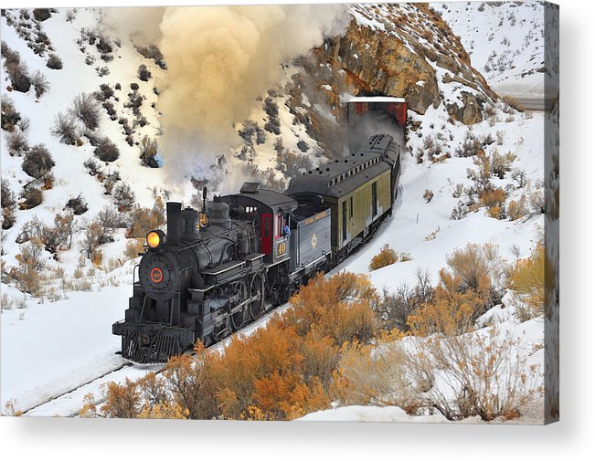 Steam Train Acrylic Print featuring the photograph Steam Scene In The Snow by Dan Pope