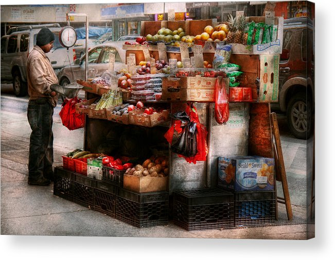 Chelsea Acrylic Print featuring the photograph Store - Ny - Chelsea - Fresh Fruit Stand by Mike Savad