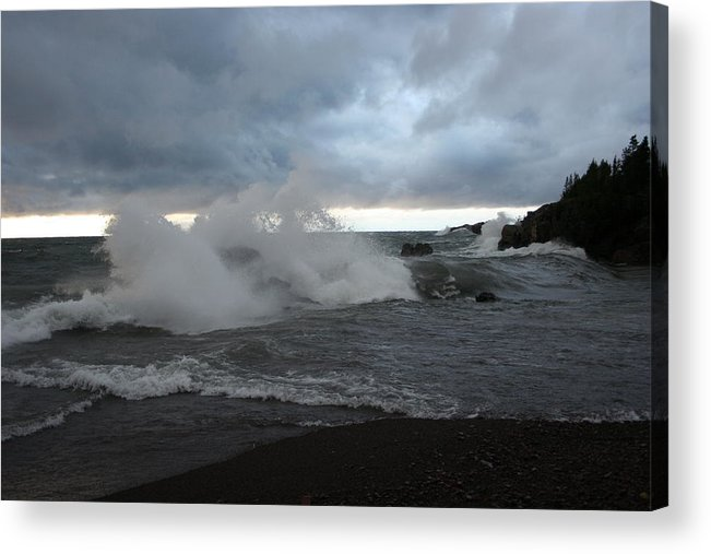 Storm On Black Beach Lake Superior Acrylic Print featuring the photograph Storm On Black Beach by Joi Electa