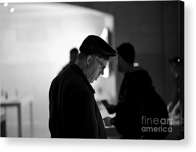 Store Black And White Photography Street Photography Candid Contrast Acrylic Print featuring the photograph Street Photography - At The Store by Darwin Lopez