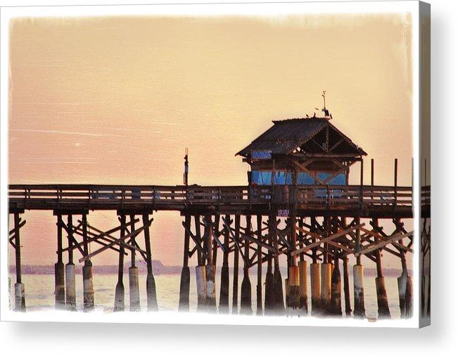 Sunrise Acrylic Print featuring the photograph Sunrise On Rickety Pier by Janie Johnson