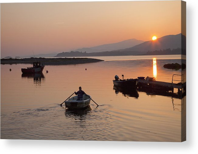 40-45 Years Acrylic Print featuring the photograph Sunset At Rosdohan Pier Near Sneem by Peter Zoeller