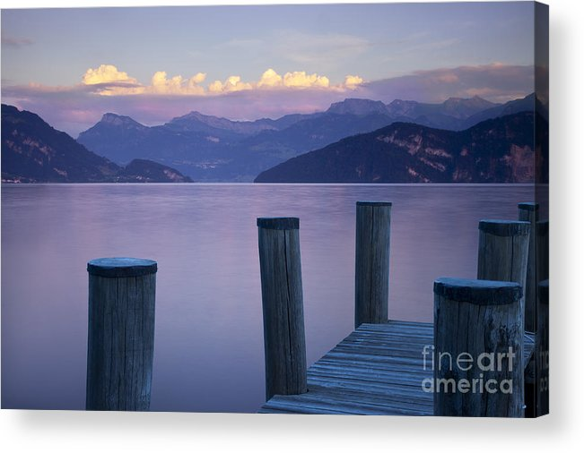 Lake Acrylic Print featuring the photograph Sunset Dock by Brian Jannsen