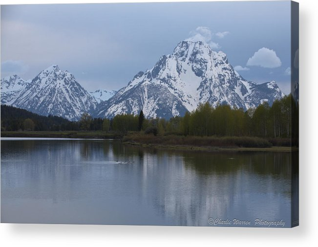 Grand Tetons Acrylic Print featuring the photograph Sunset Grand Tetons by Charles Warren
