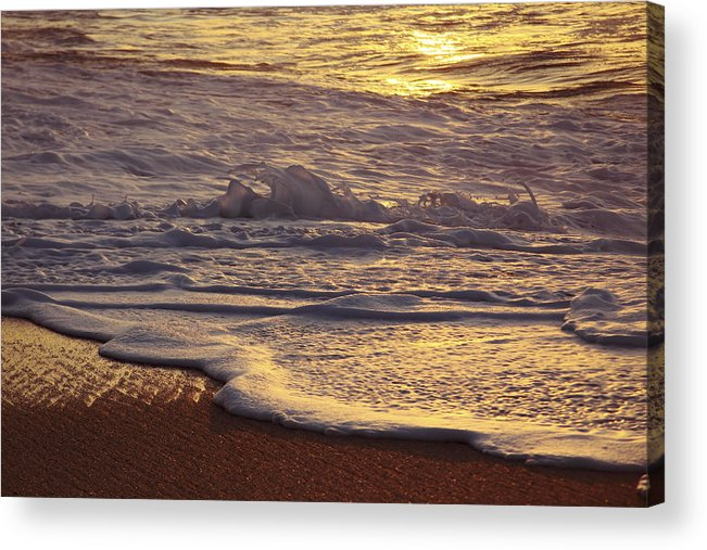 Artistic Acrylic Print featuring the photograph Sunset On Small Wave by Vince Cavataio - Printscapes