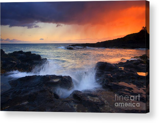 Waves Acrylic Print featuring the photograph Sunset Storm Passing by Mike Dawson