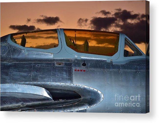 1951 Russian Mig Acrylic Print featuring the photograph Sunset Through The Cockpit by Lynda Dawson-Youngclaus