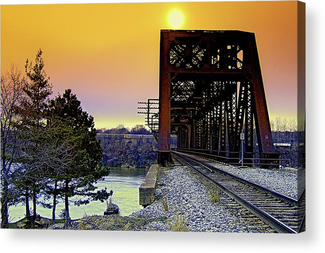 Train Acrylic Print featuring the photograph Sunset Trestle by Mark Dottle