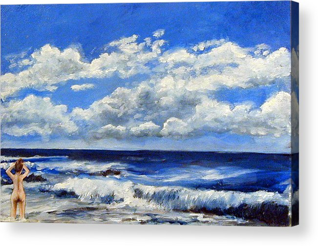 Ocean Acrylic Print featuring the painting Swimmer by Robert Harvey
