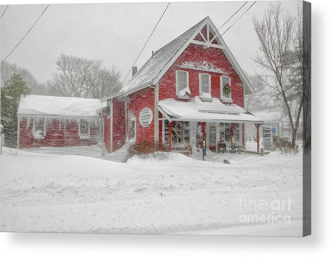 Winter Acrylic Print featuring the photograph The 1856 Country Store On Main Street In Centerville On Cape Cod by Matt Suess