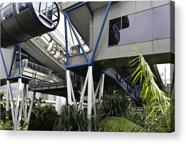 Asia Acrylic Print featuring the photograph The Area Below The Capsules Of The Singapore Flyer by Ashish Agarwal