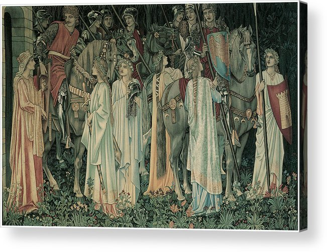 Edward Burne-jones Acrylic Print featuring the painting The Departure Of The Knights by Edward Burne-Jones