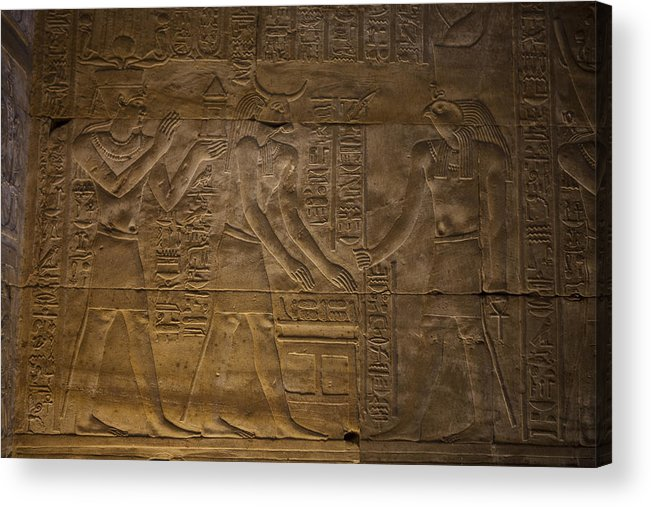 Africa Acrylic Print featuring the photograph The Gods Horus, Hathor And The Pharaoh by Taylor S. Kennedy