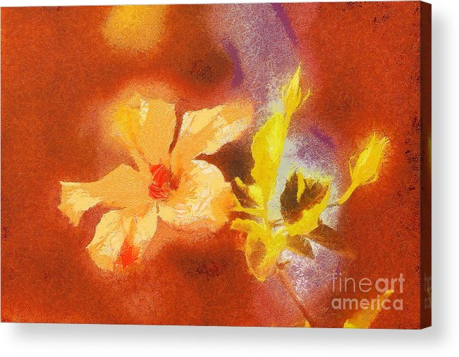 Odon Acrylic Print featuring the painting The Iris Flower by Odon Czintos