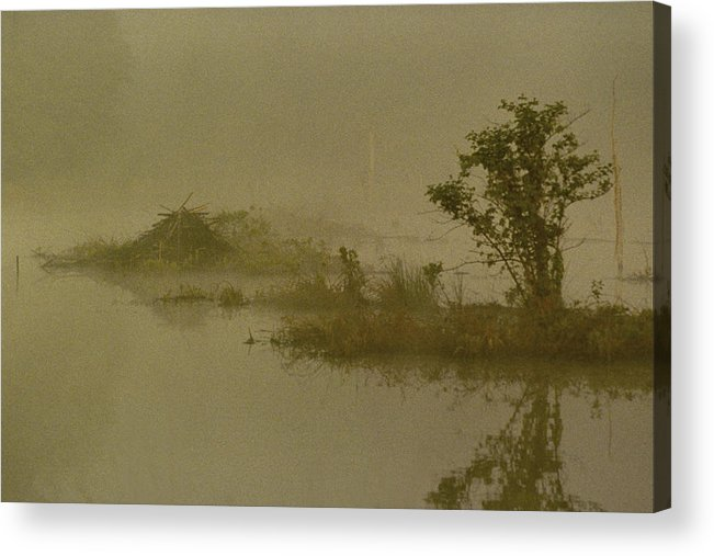 Pond Acrylic Print featuring the photograph The Lodge In The Mist by Skip Willits