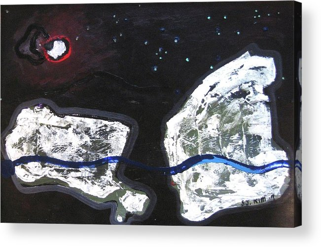 Rock Painting Acrylic Print featuring the painting The Moon And Two Rocks by Seon-Jeong Kim
